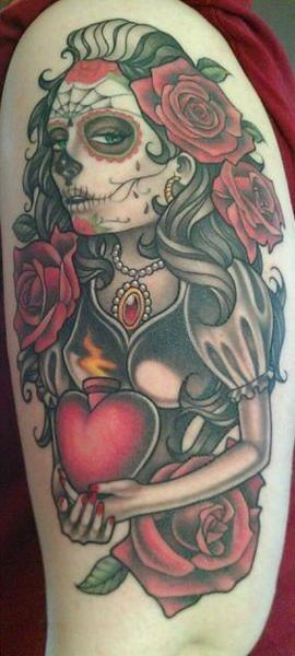 Coloured old school santa muerte tattoo