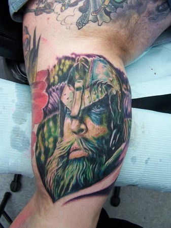 Coloured portrait of a viking in a helmet tattoo ...