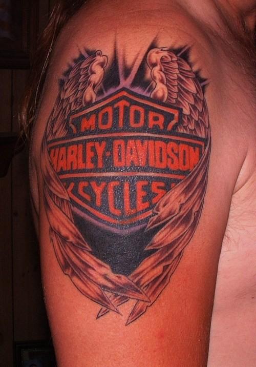 Coloured symbol of Harley Davidson tattoo