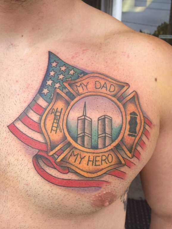 Coloured tattoo in memory of father