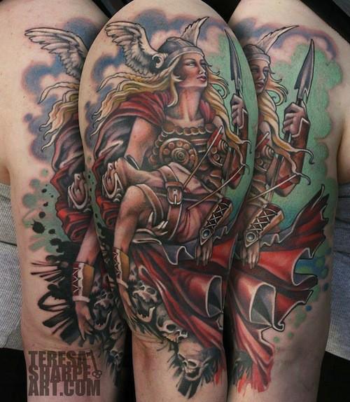 colorato vichingo donna e teschio tatuaggio
