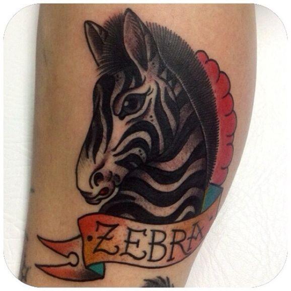 """Tatuaggio colorato la zebra & &quotZEBRA"""""""