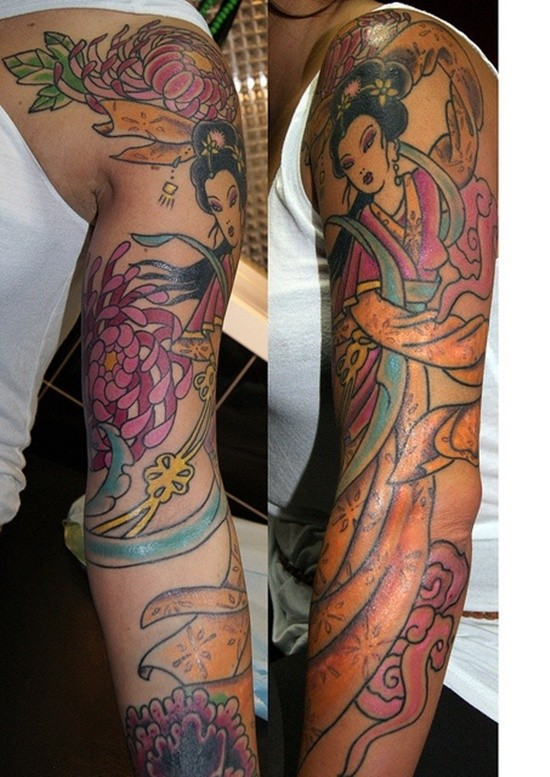Comic books like colored dancing geisha tattoo on sleeve combined with beautiful flowers