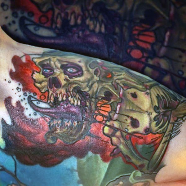 Comic books style black and white bloody zombie monster tattoo