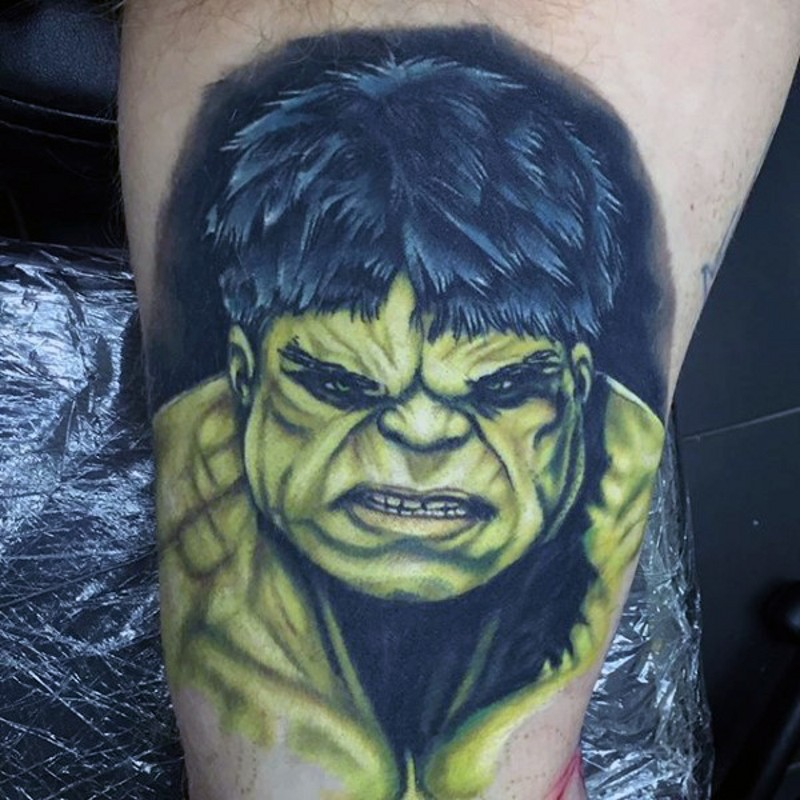 Comic books style colored arm tattoo of angry Hulk