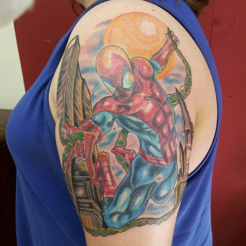 db40cfaed Comic books style colored big shoulder tattoo of flying Spider-man in city