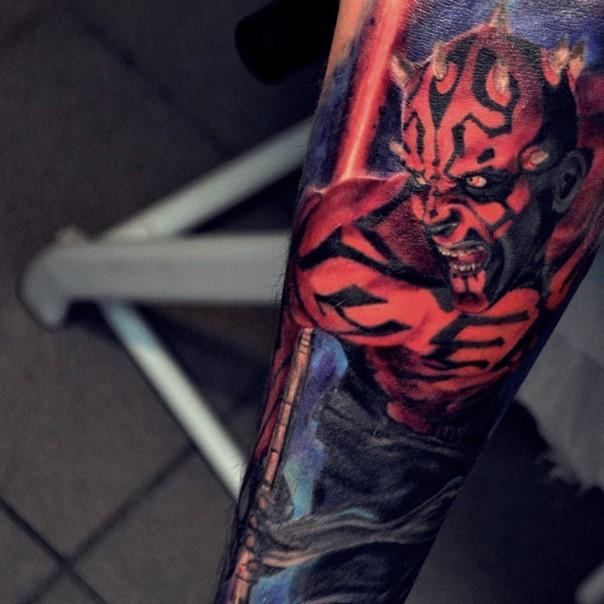 Comic books style colored detailed Darth Maul tattoo on sleeve zone