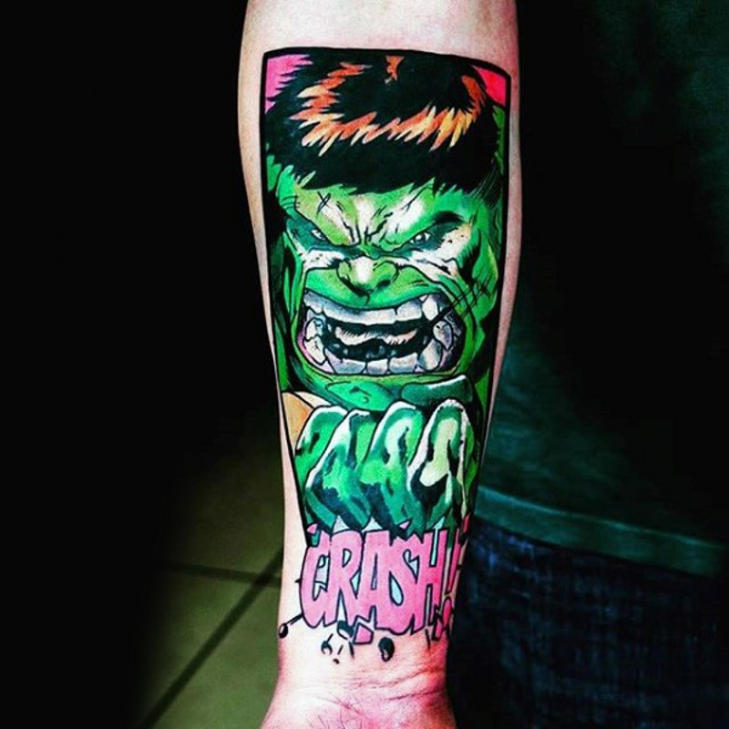 Comic books style colored forearm tattoo of Hulk with lettering