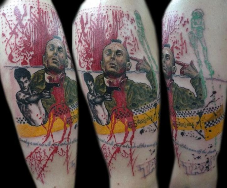 Comic books style colored shoulder tattoo of man with pistol