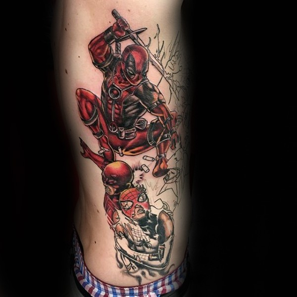 Comic books style colored side tattoo of angry Deadpool