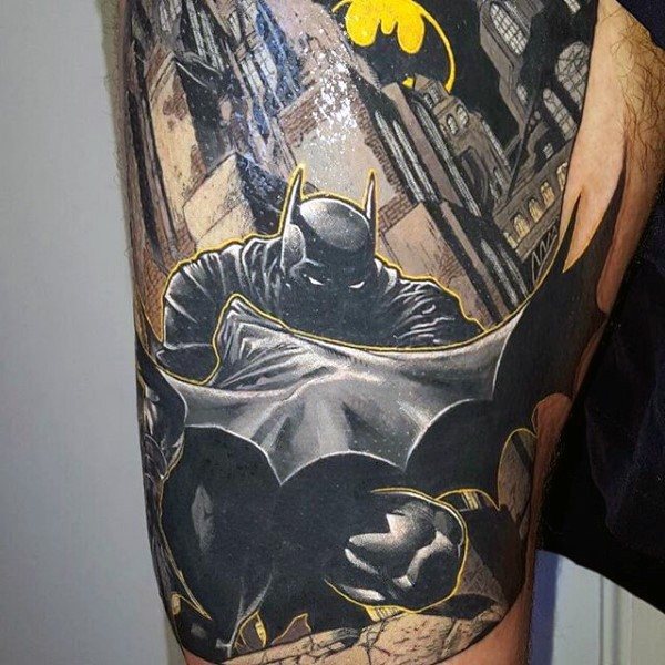 Comic books style colored thigh tattoo of creepy looking Batman in night city