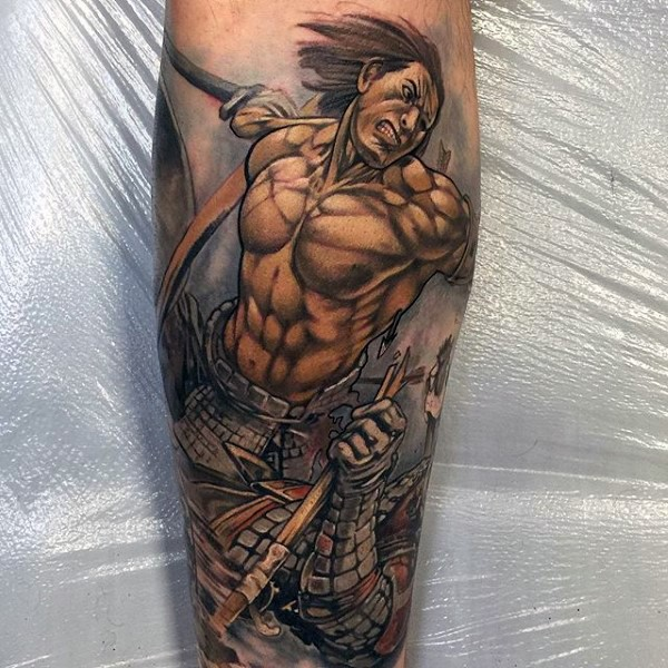 Comic books style colored vintage warrior tattoo on leg