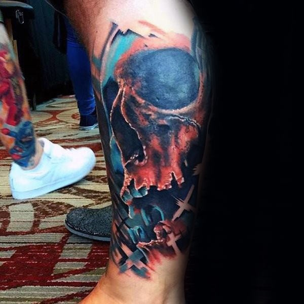 Comic books style leg tattoo of human skull with crosses