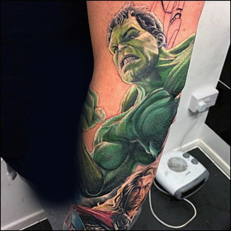 Comic books style painted colored half sleeve tattoo of Thor and Hulk