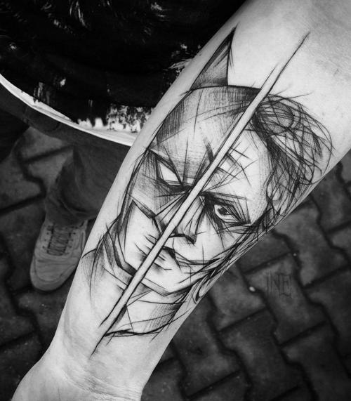 Comic books themed sketch style by Inez Janiak tattoo of Batman and Joker