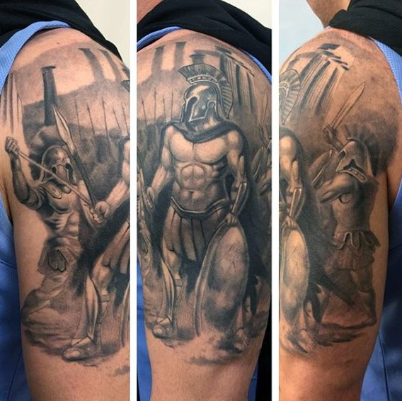 Cool 3D like black ink detailed Greece warriors half sleeve zone tattoo