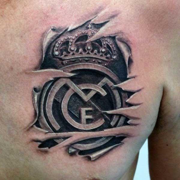 Cool 3D like black ink football club emblem tattoo on chest
