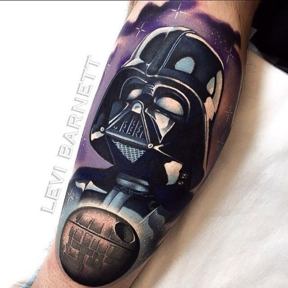 Cool 3D like detailed colored Darth Vaders helmet tattoo on arm with Death Star