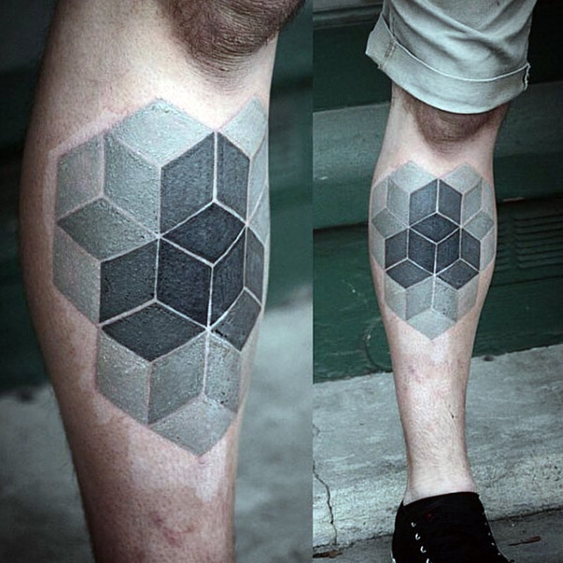 cooles 3d mehrfarbiges geometrisches tattoo am bein. Black Bedroom Furniture Sets. Home Design Ideas