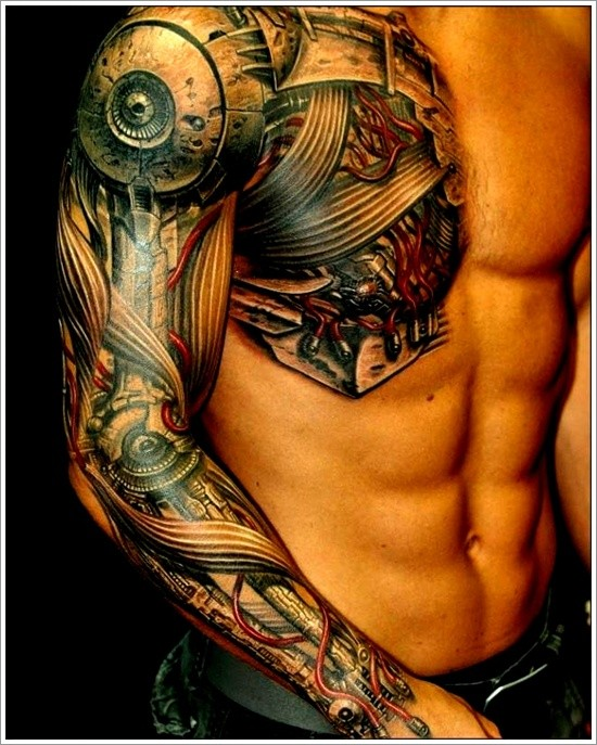 Cool big biomechanical tattoo on chest and arm