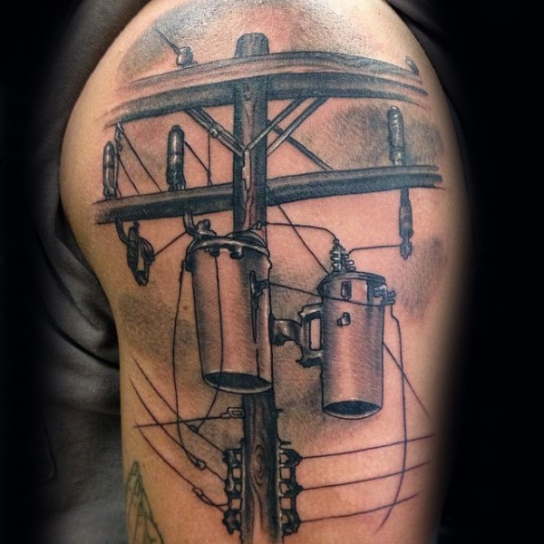 Cool black and gray style detailed shoulder tattoo of lineman liens