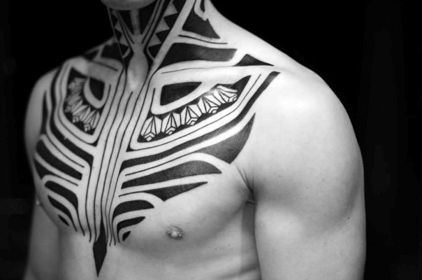 Cool black and white tribal style tattoo on chest and neck