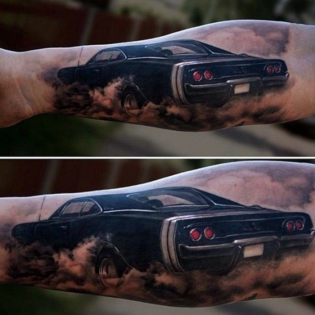 Cool black car forearm tattoo