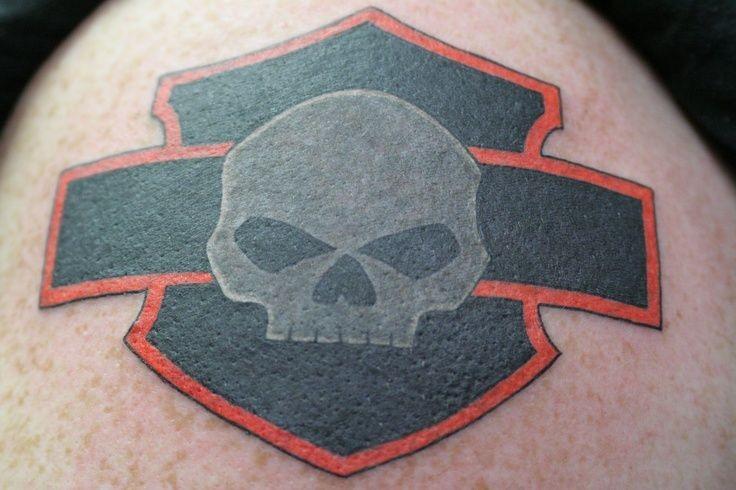 Cool black gray red logo of bikers tattoo