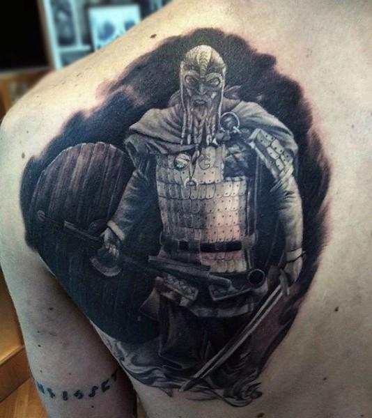 Cool black ink fantasy medieval warrior tattoo on back