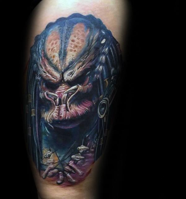 Cool black ink leg tattoo of terrifying Predator
