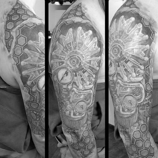 Cool black ink very detailed plane engine tattoo on shoulder