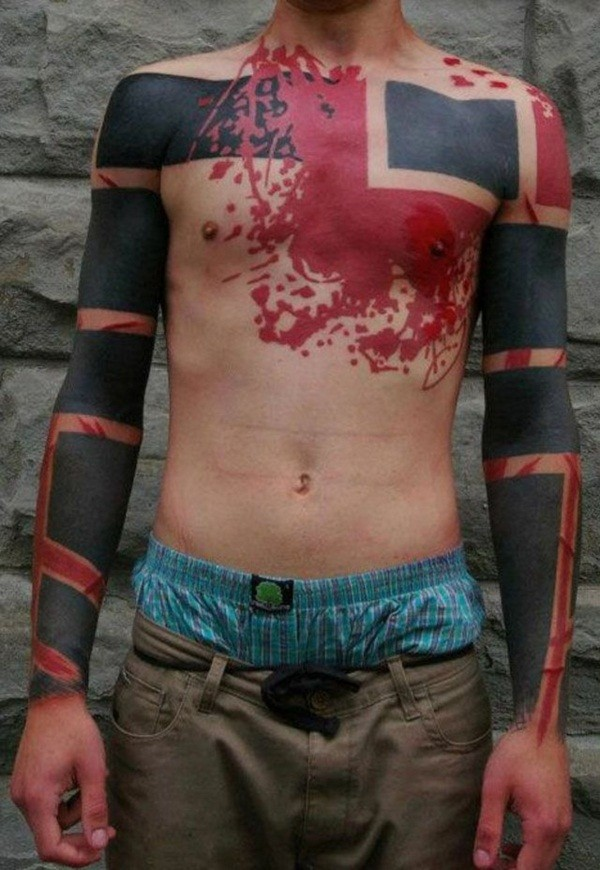 Cool black red chest tattoo in blackwork style