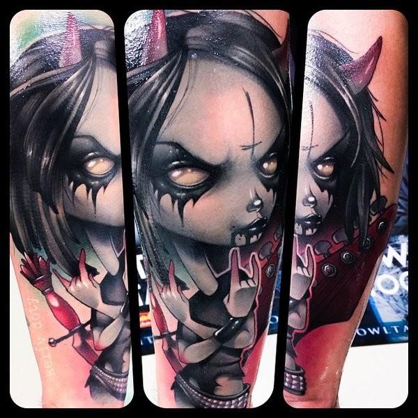 Cool cartoon like detailed forearm tattoo on demonic girl