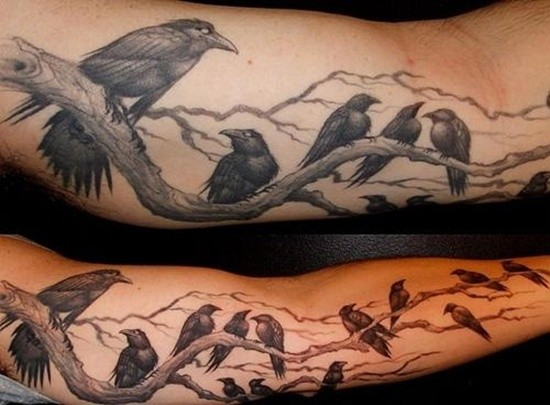Cool cartoon like long slim tattoo of crows sitting on tree