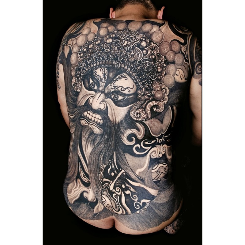 Cool chinese deity tattoo on whole back