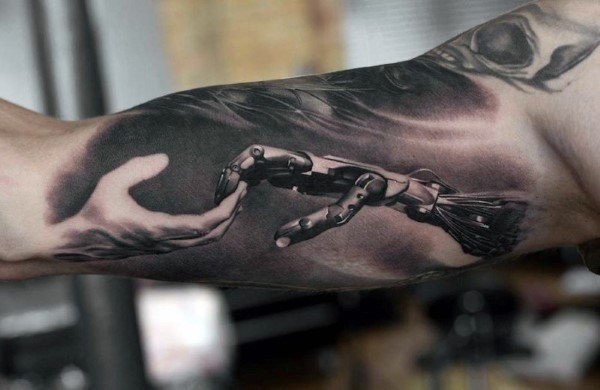 Cool colored biceps tattoo of biomechanical hand combined with human hand