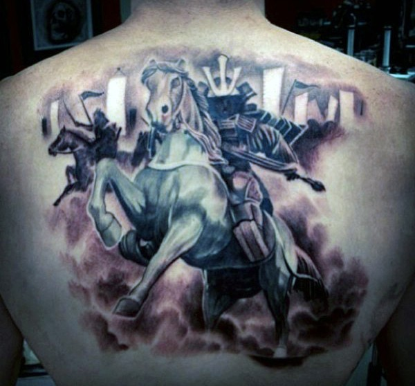 Cool colored big samurai warrior horse rider tattoo on back