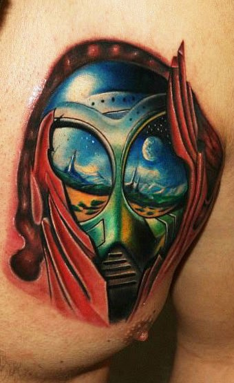 Cool colored tattoo of big alien face
