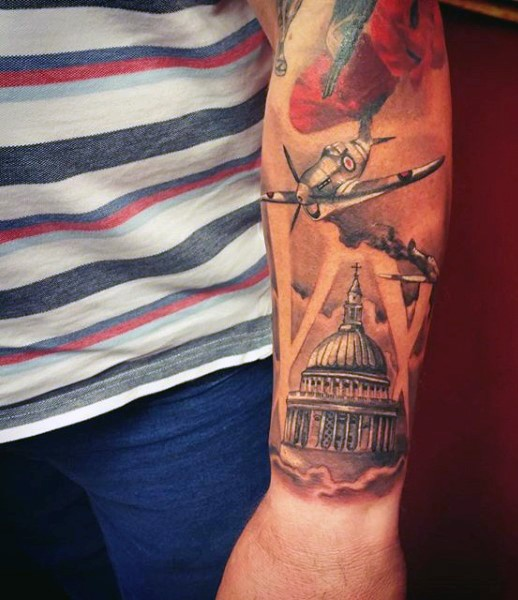 Cool colorful military tattoo with building on sleeve