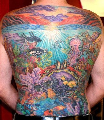Cool coloured ocean tattoo on whole back