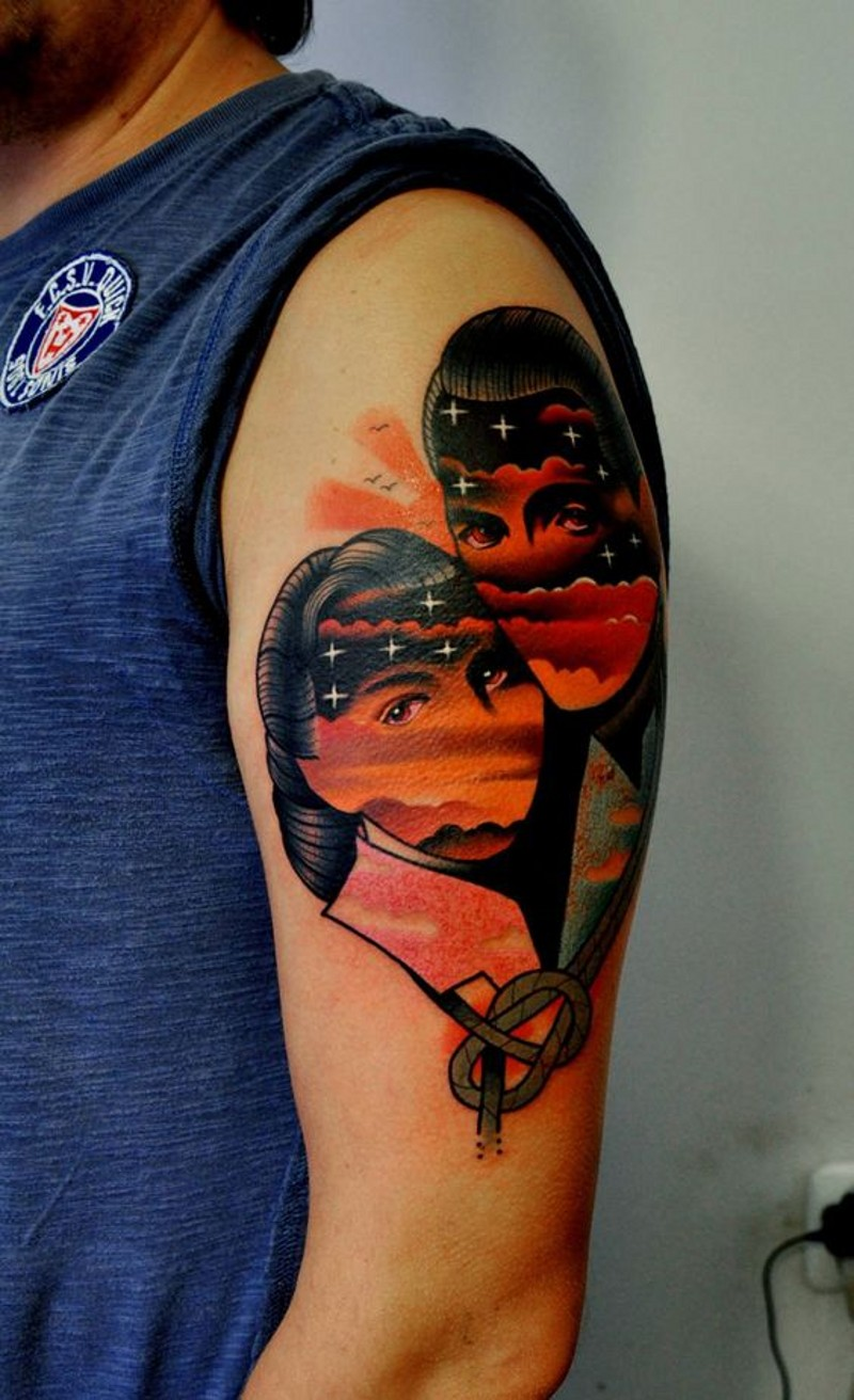 Cool combined couple portrait with stars tattoo on upper arm