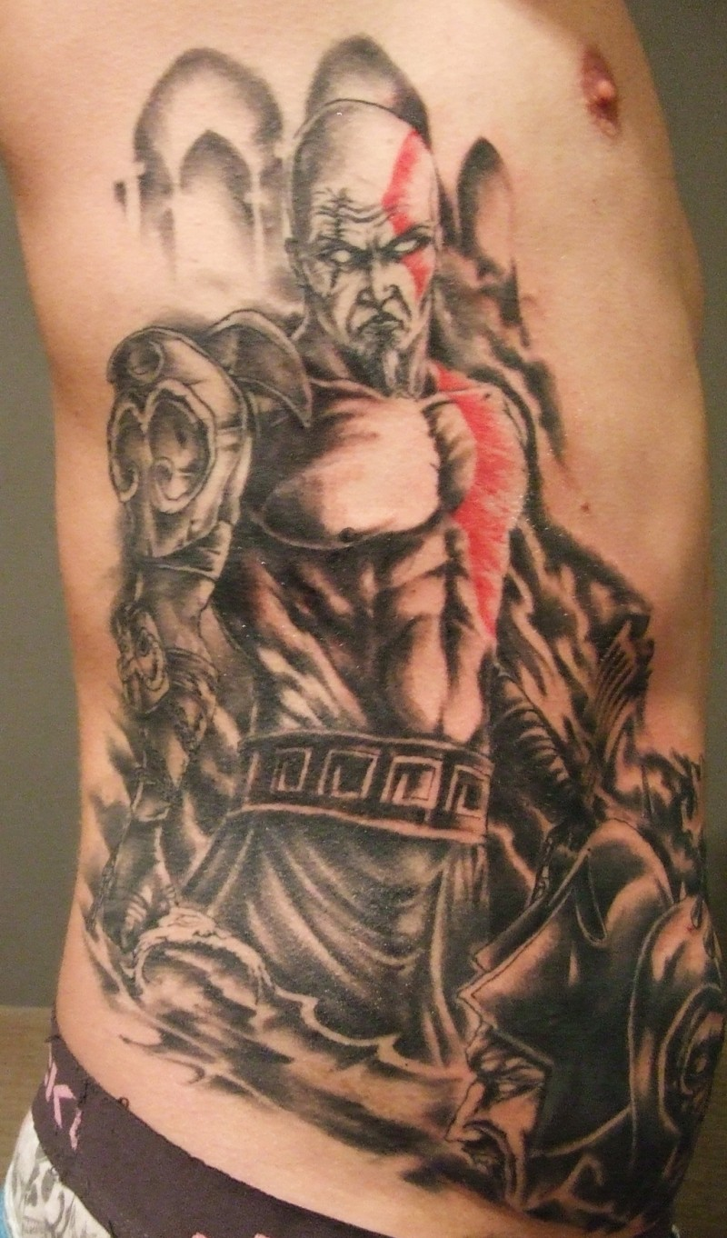 Cool comic books like colored evil barbarian warrior on side zone tattoo