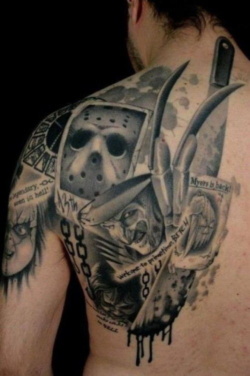 Cool comic books style black and white back and shoulder tattoo of various horror movies heroes