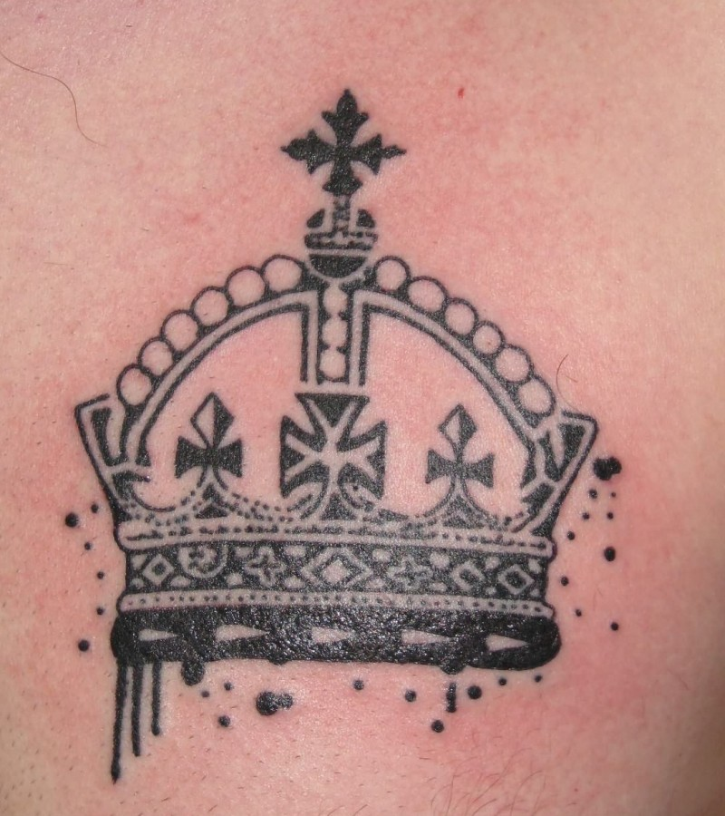 Cool crown tattoo on chest for men