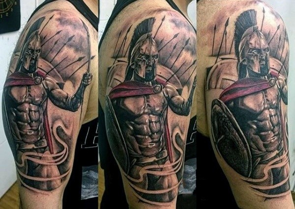 Cool deigned colored and detailed shoulder tattoo of spartan warrior