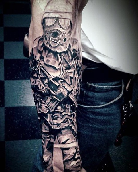 Cool designed and detailed black ink modern soldier tattoo on sleeve