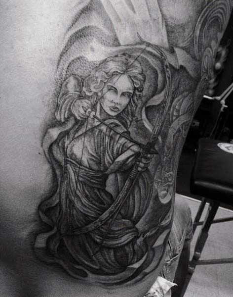 Cool designed black and white amazing female archer tattoo on side