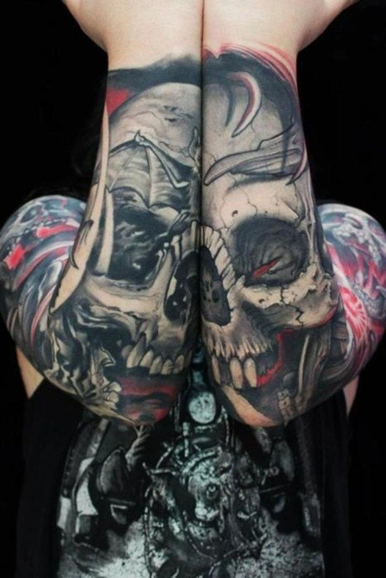 Cool designed colored corrupted human skull tattoo on forearms