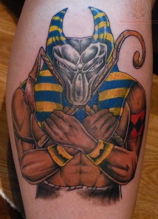 Cool detailed black ink Seth God tattoo on leg
