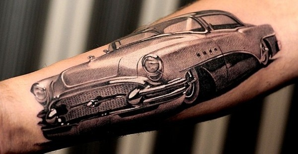 Cool detailed car forearm tattoo